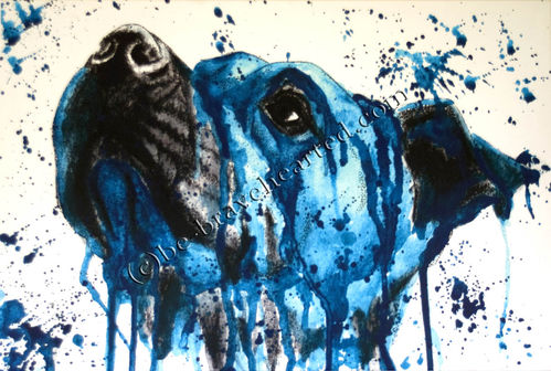 Art print Pitbull water colour